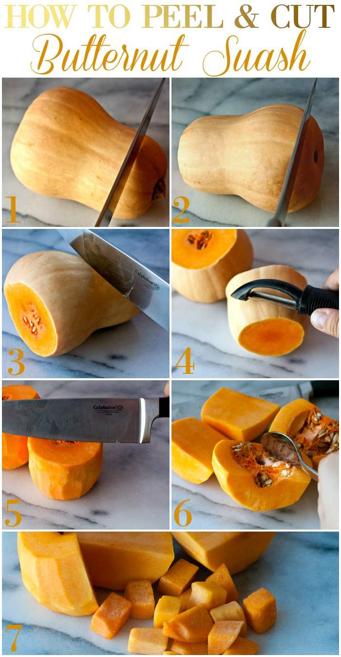 Collage of process shots for how to cut butternut squash with text overlay for social media