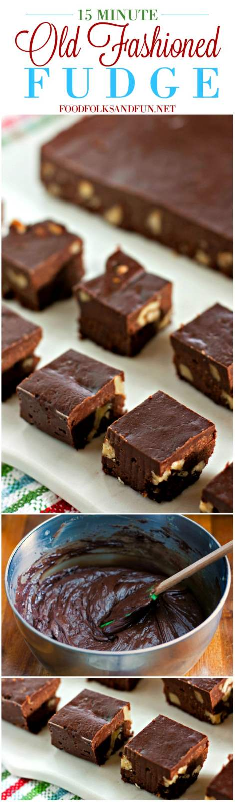 Picture collage of old fashioned fudge for Pinterest.