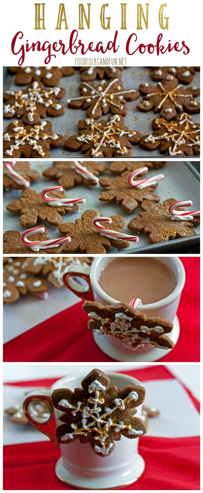 Picture collage of hanging gingerbread cookies for Pinterest.