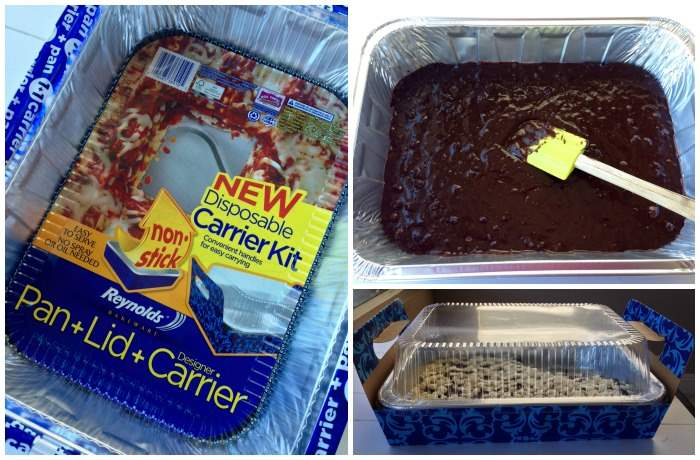 Brownies in a disposable pan with carrier.