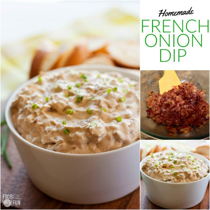 A collage of French Onion Dip with text overlay for Pinterest