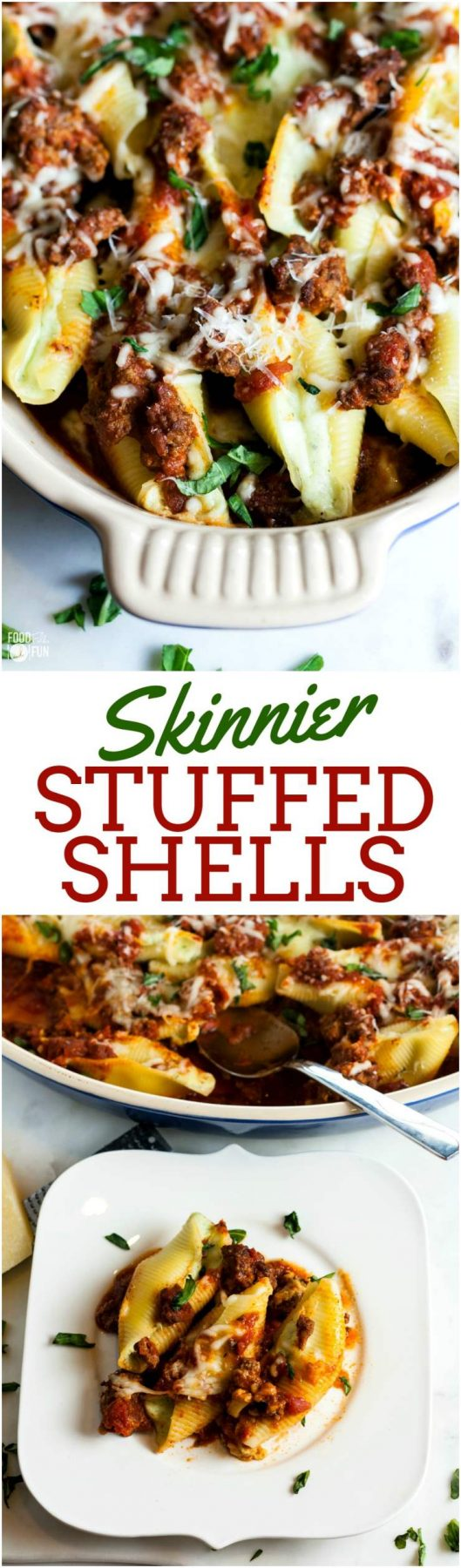 These Skinnier Stuffed Shells are packed with flavor and a velvety-smooth filling. They're made skinnier by using fat free cottage cheese instead of ricotta, and part-skim mozzarella cheese!