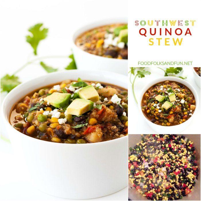 Picture collage of quinoa stew.