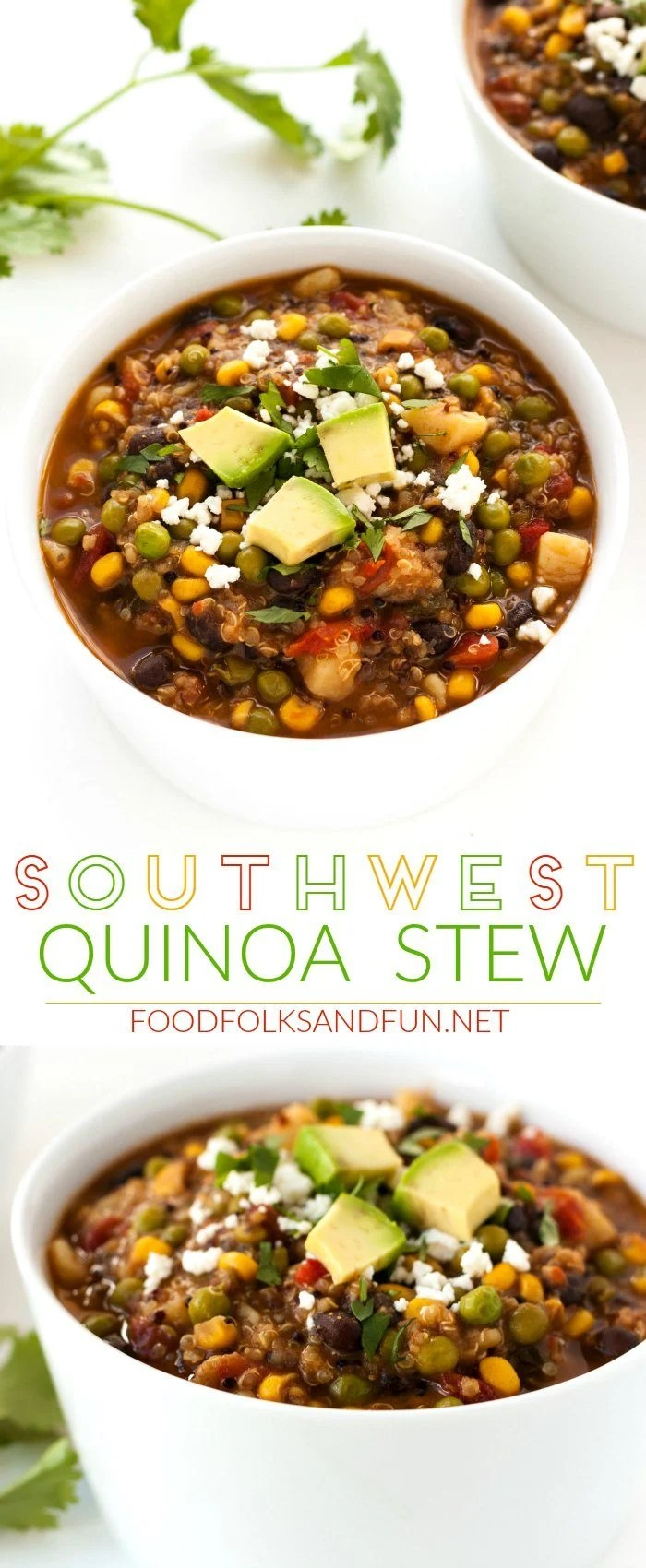 Picture collage of southwest quinoa stew.
