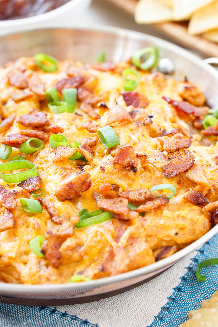Cheesy Bacon BBQ chicken dip in a bowl