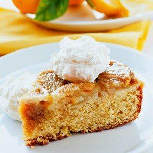 A slice of Meyer Lemon Upside Down Cornmeal cake on a plate