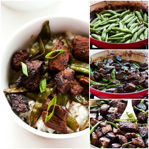 This Sichuan-Style Orange Beef is beautifully caramelized in a vibrant sauce, and tossed with sugar snap peas. It's an easy weeknight dinner recipe your family will love!