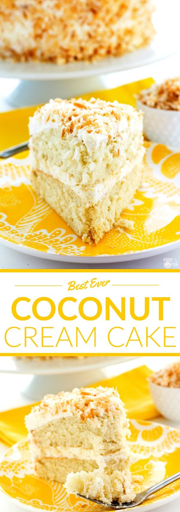 This recipe for Coconut Cream Cake is so tender, and it is deliciously covered in Coconut Swiss Meringue Buttercream and beautifully toasted coconut. via @foodfolksandfun