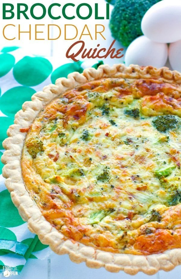This easy vegetarian broccoli quiche recipe has a creamy smooth custard interior, and it's filled with broccoli and sharp white cheddar cheese.