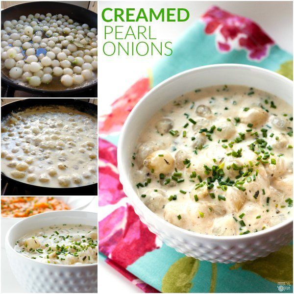 Step-by-step photos of how to make creamed pearl onions.