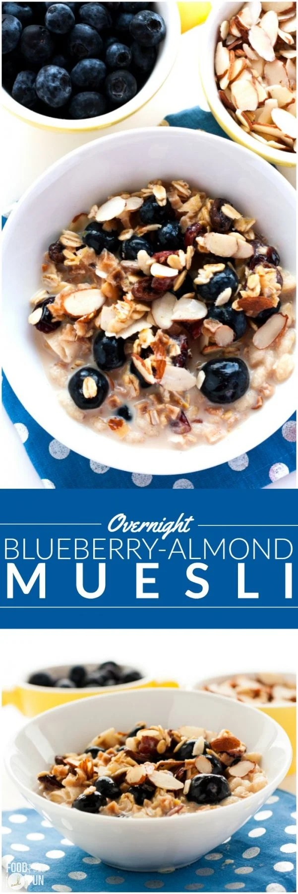 This Overnight Blueberry-Almond Muesli recipe is an easy grab-and-go breakfast for busy weekday mornings. via @foodfolksandfun