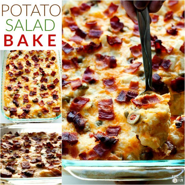 A picture collage of Potato Salad Bake with text overlay for Facebook.