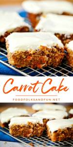 Sliced carrot cake with cream cheese frosting.