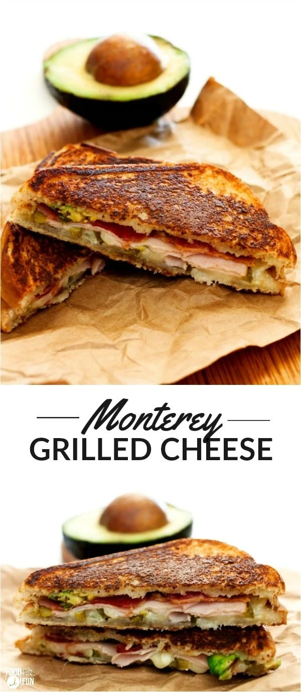 These Monterey Grilled Cheese Sandwiches are layered with Monterey Jack cheese, bacon, deli turkey, avocado, and pickled jalapenos. They're perfect for lunch or dinner and super easy to make! via @foodfolksandfun