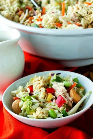 This recipe for Simple Crunchy Asian Ramen Noodle Salad is a simpler, healthier, fully-loaded version of the classic Ramen Salad. It takes just 20 minutes to make and it feeds a crowd-making it perfect for potlucks!