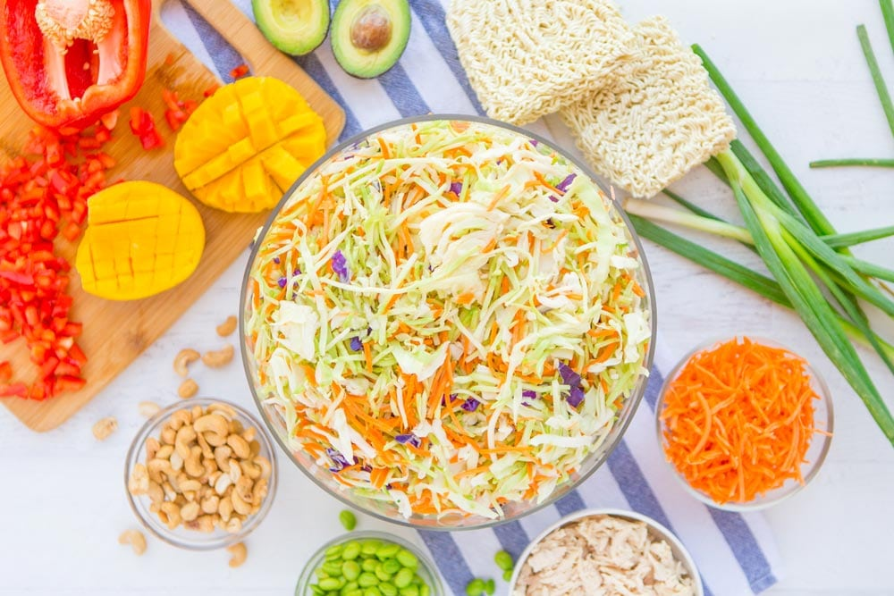 The ingredients for Raman Noodle Salad
