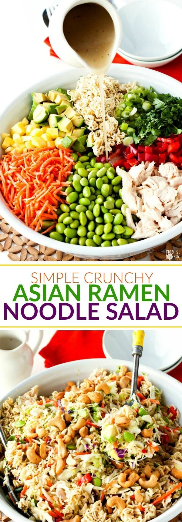 Collage of Simple Crunchy Asian ramen noodle salad with text overlay for Pinterest
