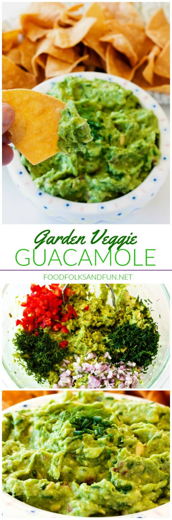 A collage of Garden Veggie Guacamole with text overlay for Pinterest