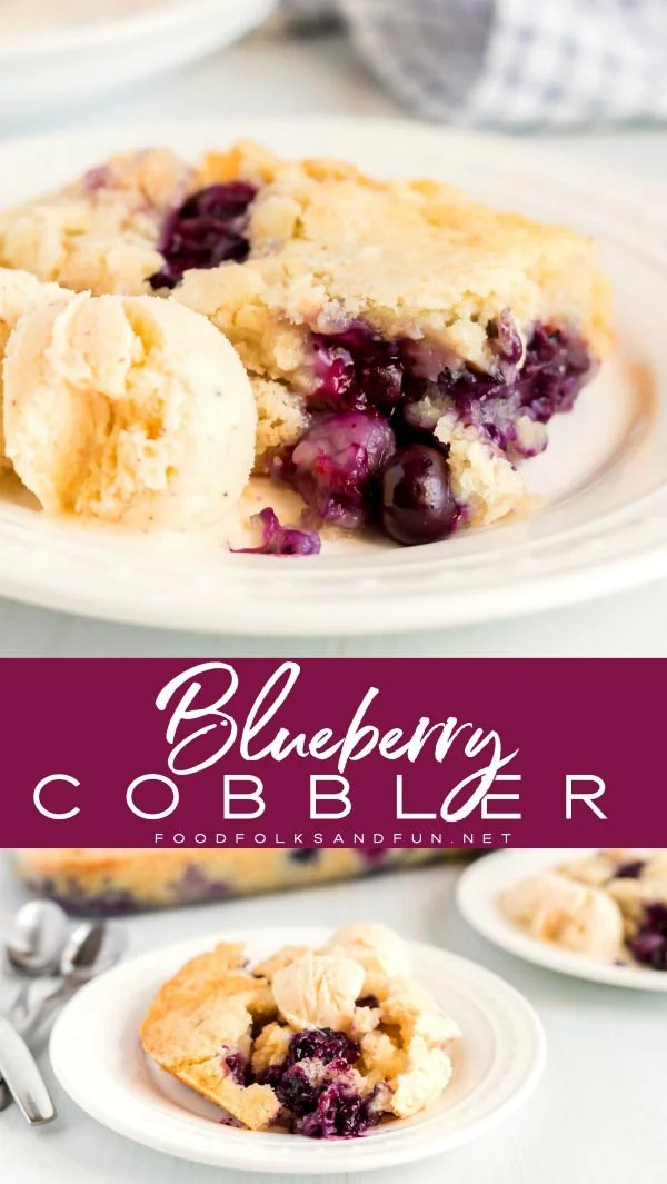 Picture collage of blueberry cobbler on white plates.