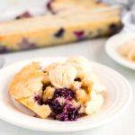 Serve the blueberry cobbler with vanilla ice cream.