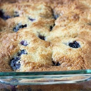 Texas Blueberry Cobbler in a baking dish