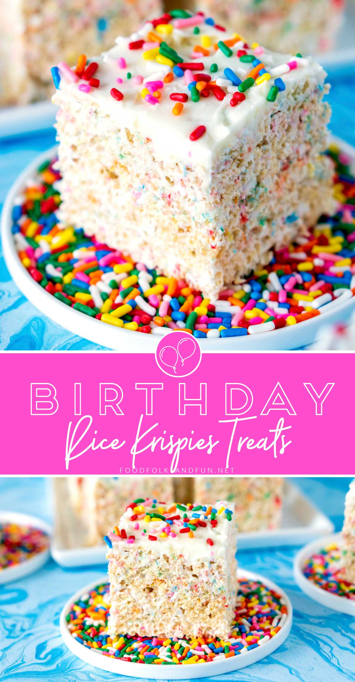 This Birthday Rice Krispies Treats recipe is made with loads of marshmallows, sprinkles, and frosting! They're huge, gooey, and perfect for birthdays! #Birthday #BirthdayTreat #BirthdayDessert #Dessert #BirthdayRecipe #DessertRecipe #RiceKrispiesTreats #FoodFolksandFun via @foodfolksandfun