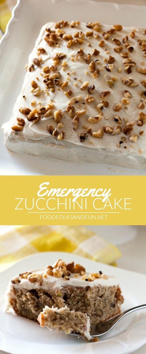 This Emergency Zucchini Cake recipe is just the thing when you get a hankering for zucchini cake and need it fast! It's a simple from-scratch recipe with all of the important elements: spicy, moist cake with zucchini throughout and fluffy cream cheese frosting.
