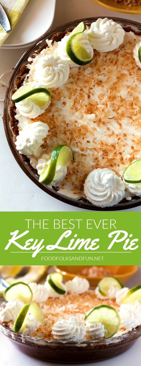 A collage of Key Lime Pie with text overlay for Pinterest
