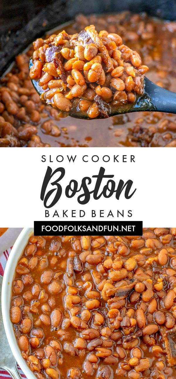 This Slow Cooker Boston Baked Beans recipe is everything baked beans should be: thick, saucy, savory with a touch of sweet. Come see how I made the classic Boston Baked Beans recipe easier by making it in the slow cooker! via @foodfolksandfun