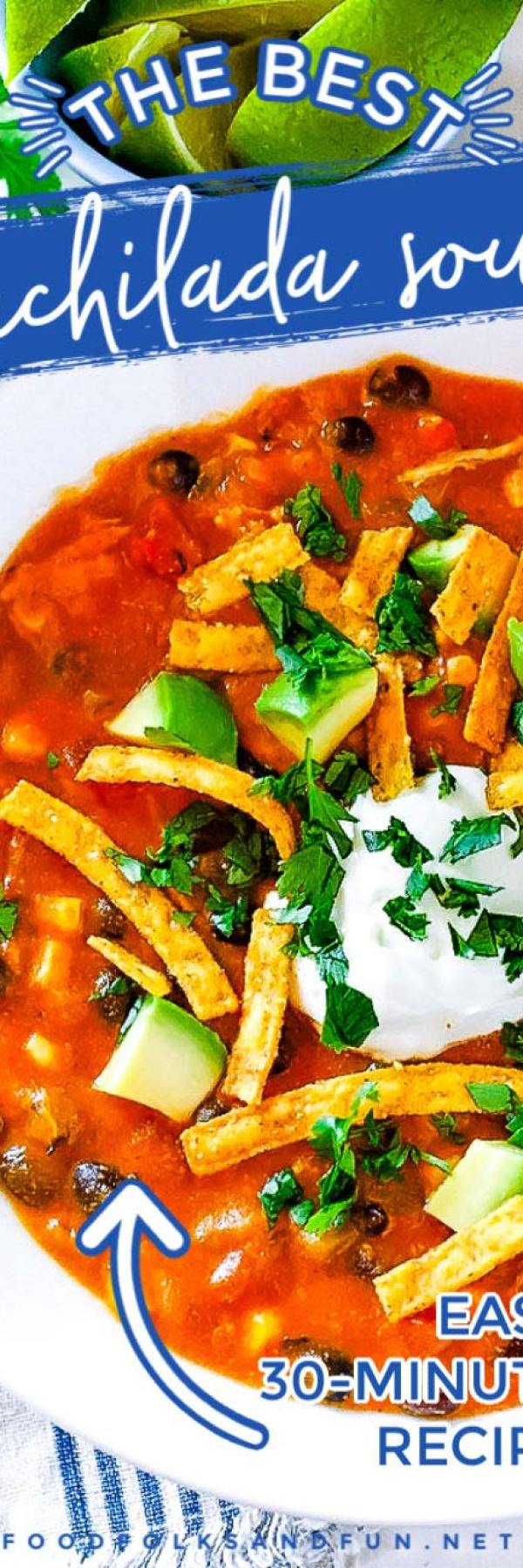 Pin collage of chicken enchilada soup.