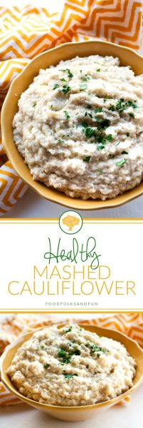 Picture collage of healthy mashed cauliflower for Pinterest.