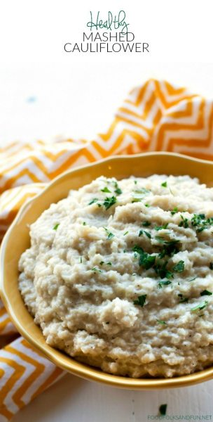 Mashed cauliflower in a yellow bowl.