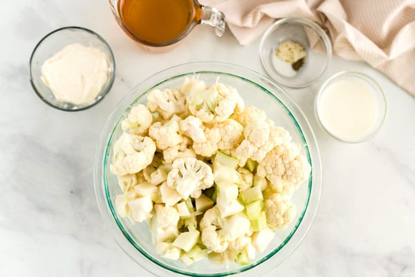 All of the ingredients needed to make Mashed Cauliflower.
