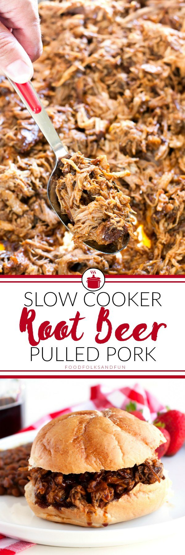 This Slow Cooker Root Beer Pulled Pork recipe is sweet, tangy, and completely delicious. It's perfect for entertaining, and the root beer barbecue sauce alone is worth the make! via @foodfolksandfun