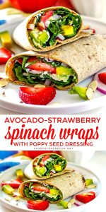 Picture collage of spinach wraps for Pinterest.