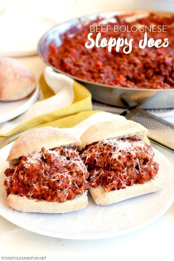 This Beef Bolognese Sloppy Joes recipe is just the thing for easy, weeknight, family-friendly meals. Your family will love this Italian twist on Sloppy Joes!