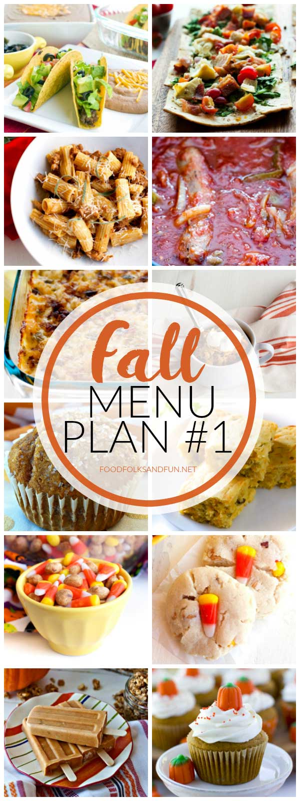 Fall-themed dinner ideas in a collage with text overlay for Pinterest