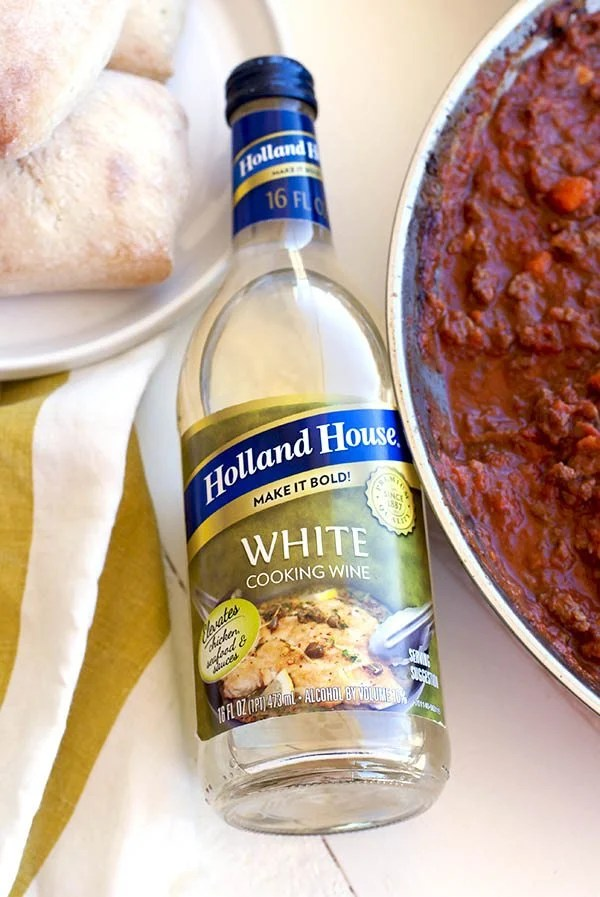 The star of this dish, cooking white wine.