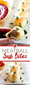 These Meatball Sub Bites are a fun twist on the classic sub that's not nearly as messy, but every bit as good! They're great for game day, holidays, and potlucks!