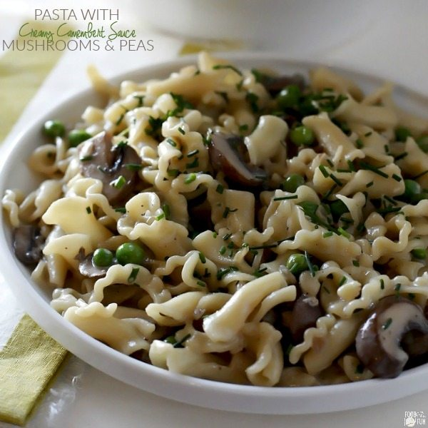 This Pasta with Mushrooms, Peas and Creamy Camembert Sauce is a great meatless weeknight dinner that's rich and hearty tasting. The mushrooms give it a meaty flavor that is completely satisfying.