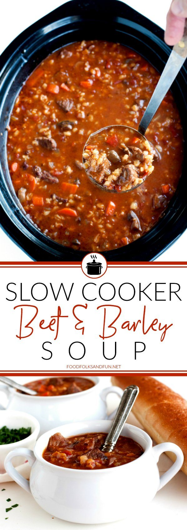 A picture collage of beef and barley soup.