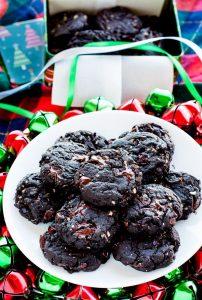 Dark Chocolate Chunk Cherry Almond Cookies on a plate