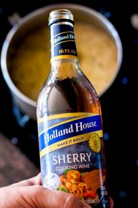 Close-up of Sherry Cooking wine used for making Turkey Gravy