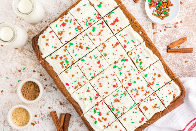 An overhead picture of the cut gingerbread bars.