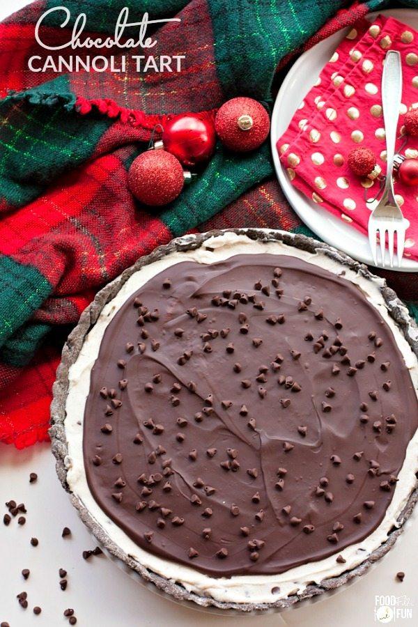 A Chocolate Cannoli Tart in a pie plate