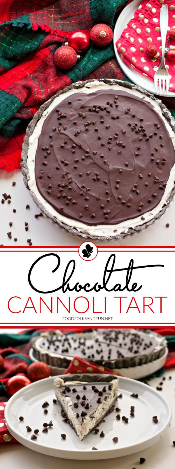 This Chocolate Cannoli Tart has all the luscious flavor of a chocolate cannoli in an easy to make tart. It's all dressed up andperfect for holiday entertaining or any time of the year. via @foodfolksandfun