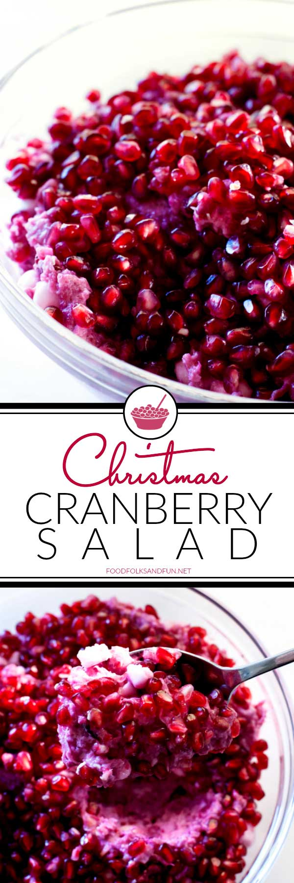 This Christmas Cranberry Salad is simply the best. It's loaded with tart cranberries, whipped cream, pineapple, coconut, marshmallows, and pomegranate seeds.
