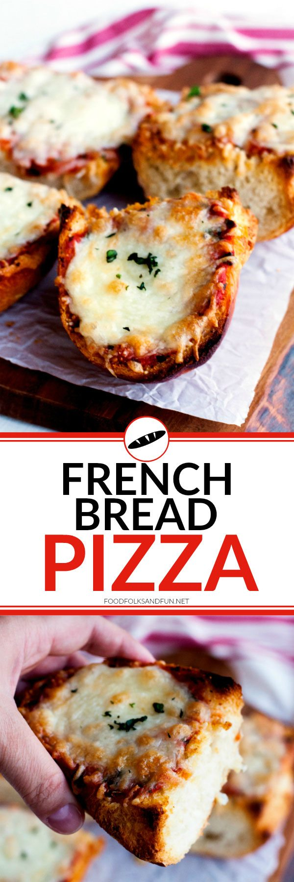 Serve this French Bread Pizza for pizza night, weeknights, or weekends. It's delicious and so easy to make; get it on your table in less than 30 minutes! via @foodfolksandfun