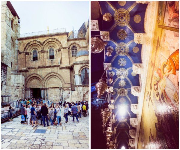 The Church of the Holy Sepulcher - inside and outside