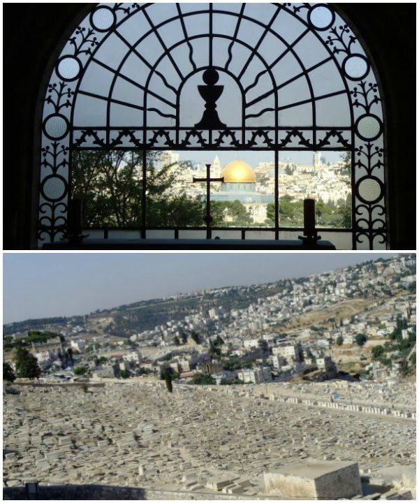 View form Dominos Flevit Sanctuary, and Jewish cemeteries on the Mount of Olives.